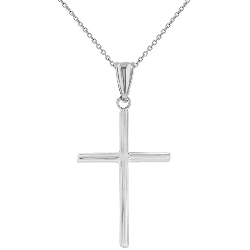 High Polished 14K White Gold Plain Slender Cross Pendant with Chain Necklace, 18'' by JewelryAmerica