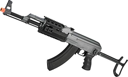 Evike Full Size AK47-S RIS Airsoft AEG Rifle w/Metal Gearbox & Metal Underfold Stock by CYMA - (Package: Add 7.4v LiPo Battery + Charger)