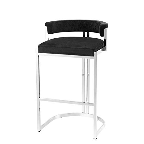 Black Velvet Counter Stool | EICHHOLTZ Dante | Black Velvet Metal Modern Counter Stool (Dante Outdoor Furniture)