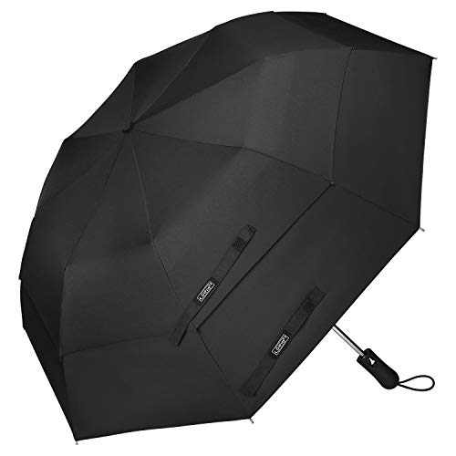 G4Free Compact Folding Golf Umbrella Extra Large 50-inch Double Canopy Vented Umbrellas Windproof Auto Open Collapsible Travel Umbrellas(Black) (Double Canopy Umbrella)