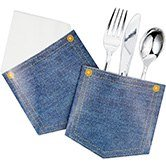 Club Pack of 72 Decorative Classic Denim Pocket Paper Party Silverware Holder 5