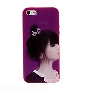 comprar Patrón púrpura hermosa chica del gel de TPU suave cubierta trasera del caso del marco rojo para el iphone 5/5s
