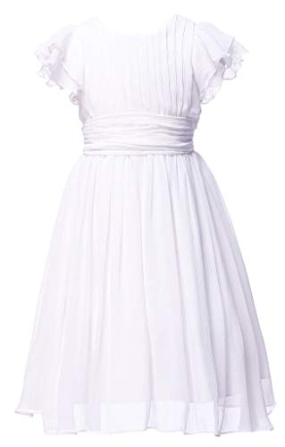 (Happy Rose Flower Girl's Dress Prom Party Dresses Bridesmaid Dress White)