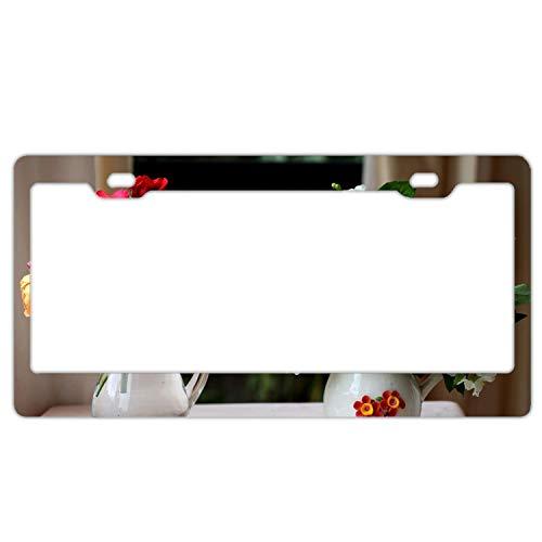 fffvv Alumina Rose Lily Jasmine Flowers Jars License Plate Frame for Home/Car Decor