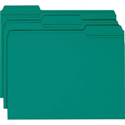 Smead File Folder, Reinforced 1/3-Cut Tab, Letter Size, Teal, 100 per Box (13134)
