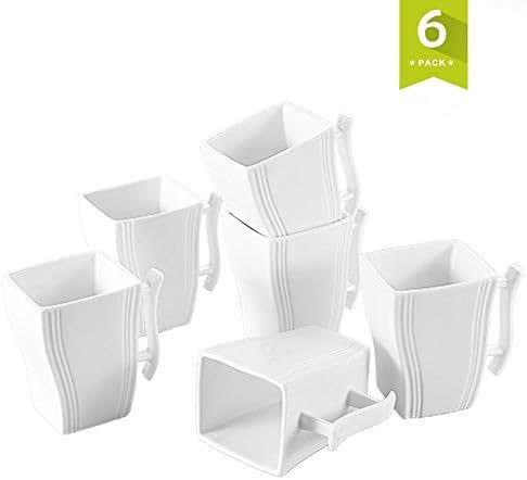 MALACASA Coffee Mug,Porcelain Espresso Cups Coffee Cups Set of 6-11.5 Ounce Ceramic Mugs for Coffee,Tea,Cappuccino and Drinks- Ivory White
