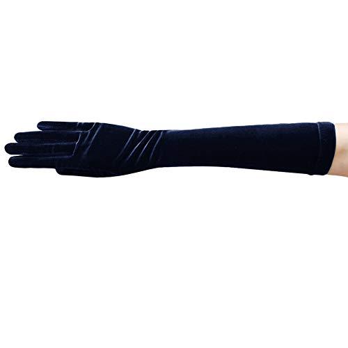 (ZaZa Bridal Stretch Velvet Gloves Below-The-Elbow Length 8BL-Dark Navy)