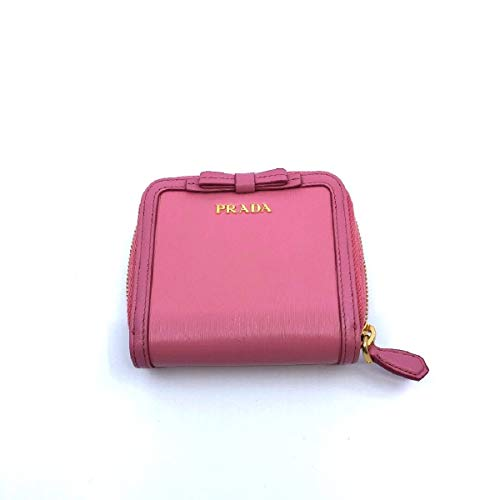 Prada Portafoglio Lampo Fuxia Light Pink Vitello Move Zip Flap Bow Wallet 1ML522