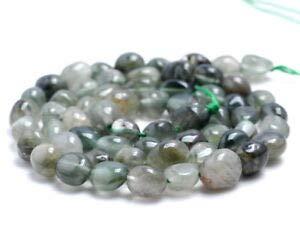 - 7-8MM Green RUTILATED Quartz Gemstone Pebble Nugget Loose Beads 7.5