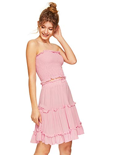 - Floerns Women's Two Piece Outfit Smocked Tube Crop Top and Ruffle Skirt Set Pink M