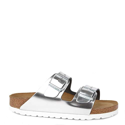 Birkenstock Womens Arizona Soft Foot Bed Double Buckle Metallic Sandals - Metallic Silver - US8/EU39