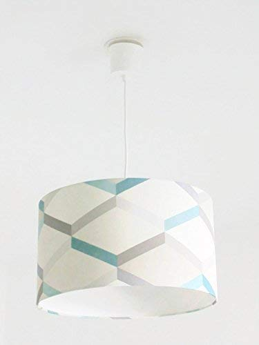 Lustre suspension plafonnier abat-jour motif géométrique - scandinave - bleu gris Luminaire diamètre personnalisé cylindre rond idée cadeau anniversaire décoration tendance fête des mères