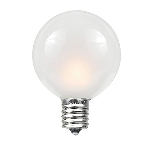Novelty Lights G50 Outdoor String Light Globe Replacement Bulbs, E12/C7 Base, Frosted White, 25 Pack
