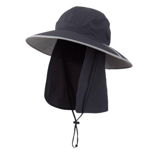 MG UV 50+ Talson Folding Large Brim Flap Hat - Charcoal OSFM