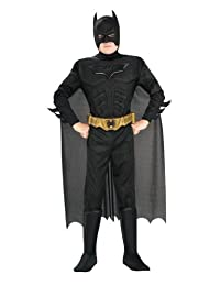 Batman Dark Knight Rises Child's Deluxe Muscle Chest Batman Costume With Mask/Headpiece and Cape - Small (size 4-6)