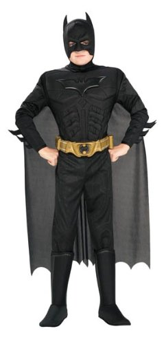 Batman Dark Knight Rises Child's Deluxe Muscle Chest Batman Costume with Mask/Headpiece and Cape - Medium (Dark Night Halloween Costumes)