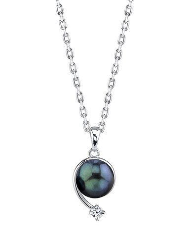 THE PEARL SOURCE 8-9mm Genuine Black Japanese Akoya Saltwater Cultured Pearl Shooting Star Pendant Necklace for Women