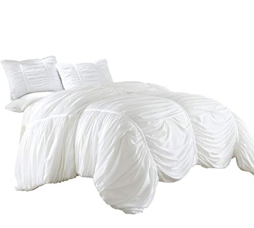 Chezmoi Collection Cassandra 2 Piece Chic Ruched Duvet Cover Set (Twin, White) ()
