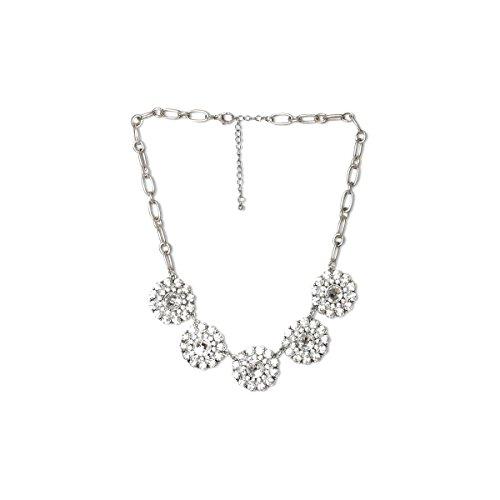 Funky Monkey Fashion Vintage Goldtone Crystal Statement Bib Necklace {Aubrey - Vintage Silver (Necklace Bib Silver)