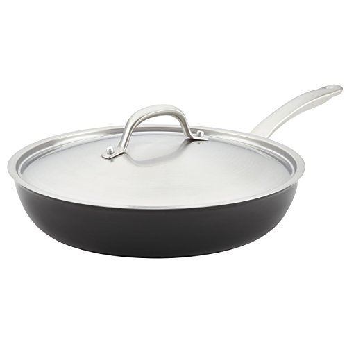 Circulon Ultimum Forged Aluminum Nonstick Covered Deep Skillet, 12-Inch, Black