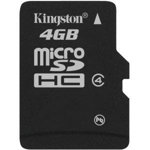 Kingston 4 GB microSD High Capacity (microSDHC) - Class 4 - 1 Card - Bulk - SDC4/4GBCP