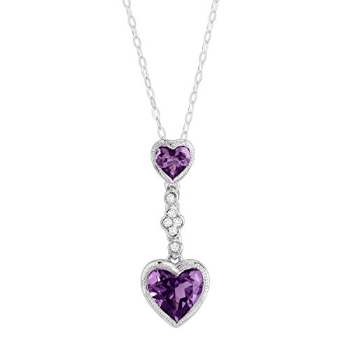 Natural Amethyst Double Heart Pendant Necklace with Created White Sapphires in Sterling -