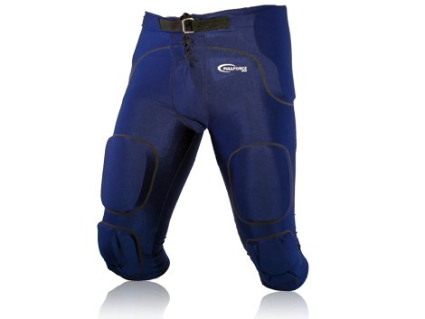 Full Force American Football Gamehose Stretch mit integrierten 7 Pads All in One, Navy Blau, Gr. XS-4XL