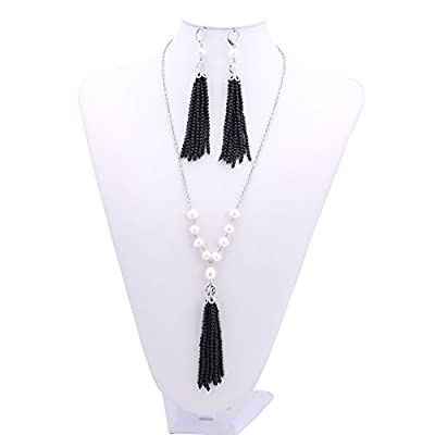 Cheap Gorgeous Cultured Freshwater White Pearl Tassel Necklace Earrings Set supplier