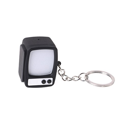 Kofun TV Style Key Chain, Creative Television LED Keychain Key Holder Mini TV Sound Light Up Decor Gift Ideal Christmas Birthday TV Style Key Chain Gift for Kids Black
