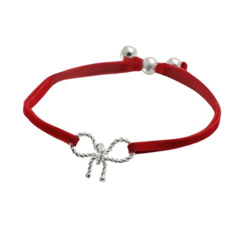 Canyon - BPF1242 - Bracelet Femme - Nœud - Argent 925/1000 1.59 gr - Textile Rouge - 6.5 cm