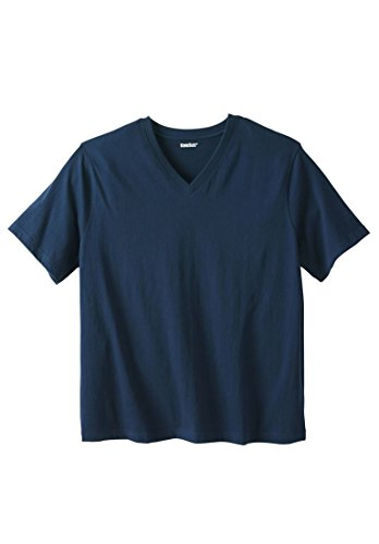 KingSize Men's Big & Tall Shrink-Less&Trade; Short Sleeve V-Neck Tee, Navy - Exclusive Short Sleeve V-neck T-shirt
