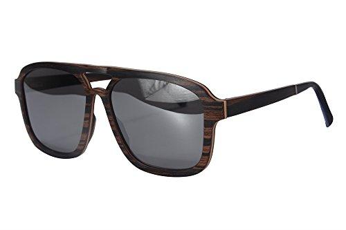 Oversized Wood Sunglasses for Men Designed in Switzerland Mirror Lenses-SH73002(ebony,silver)