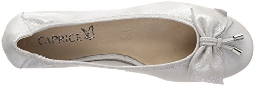 Caprice Women's 22111 Closed Toe Ballet Flats Silver (Silver Metal 920) 0NFV4