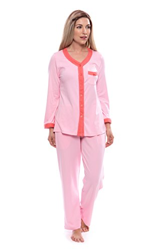 Women's Long Sleeve Pajama Set - Button Up Sleepwear by Texere (Eco Nirvana, Carnation, 3X/Petite) Best Sleepwear for Her WB0005-CRN-3XP