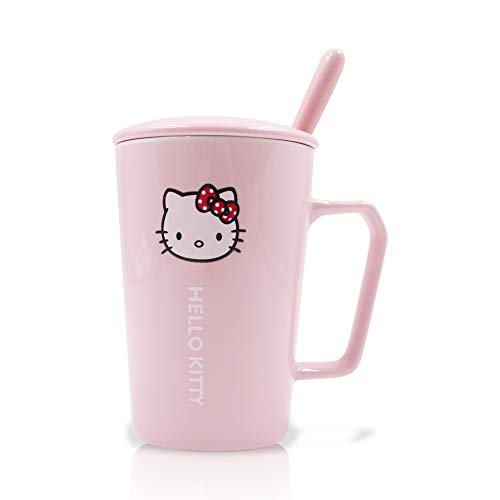 Finex Hello Kitty All Over Pink Ceramic Coffee Mug Water Cup Set with Lid and Spoon