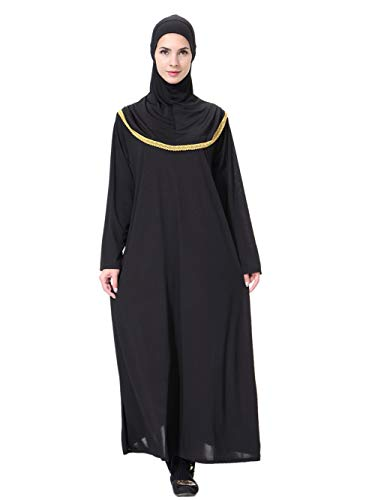 Maxi Traditionnelles Manches Robe Fortuning's Or JDS Longues Musulman Hijab Kaftan Femmes 4qgXEw