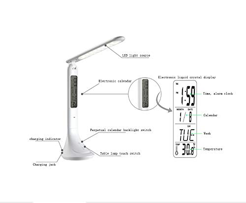 LED Table Lamp, Alarm Clock Temperature Calendar Multi-Function Display Book Light Folding LCD Screen Eye Protection Night Light for Office, Living ()