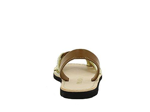 Prada Sandali Donna 1X737F3ARYF0FE4 Pelle Marrone/Oro