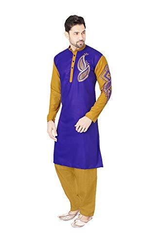 daindiashop-USA Indian Pakistani Kurta Pajama Partywear Wedding Dress Kurta in Blue Cotton Polyster Fancy Fabric by daindiashop-USA