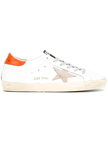 GOLDEN GOOSE WOMEN'S G30WS590B34 ORANGE/WHITE LEATHER SNEAKERS