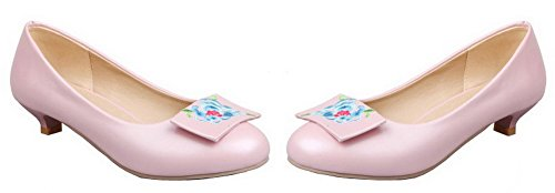 Allhqfashion Womens Pull-on Round-toe Lave Hæler Pu Brodert Pumper-sko Rosa