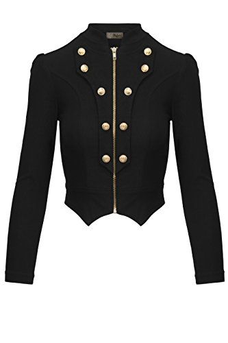 Women's Military Crop Stretch Gold Zip up Blazer Jacket KJK1125X Black -