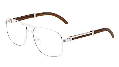Executive Metal & Wood Aviator Eyeglasses / Clear Lens Sunglasses - Frames (Silver & Dark Brown Wood, - Frames Eyeglasses Aviator