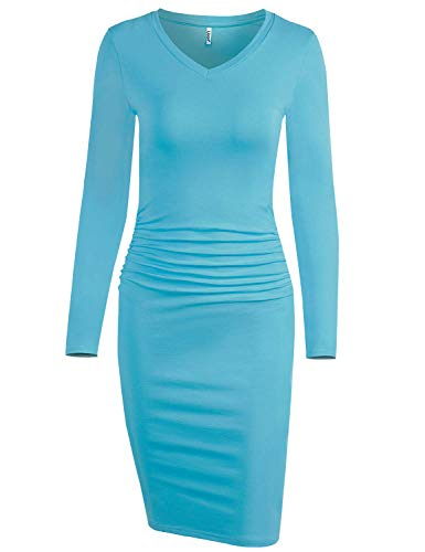 Liooil Sheath Dress for Women,Ladies Sweetheart Neckline Long Sleeve Ruched Midi Wear to Work Bodycon Dresses Light Blue - Day Dresses Sheath