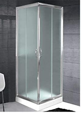 Mampara ducha de Cristal Mate templado de 6 mm - 2 lados apertura ...