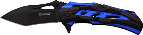 TAC Force TF-915BL-MC Spring Assisted Knife, Tone Blue/Black Anodized Aluminum Handle, 4.5