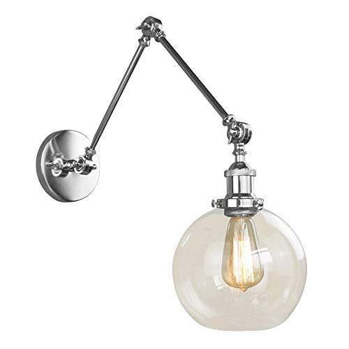 NIUYAO Vintage Industrial 1-light Wall Lighting with Round Clear Glass Shade Adjustable Swing Arm Retro Style Antique Bedside Wall Lamp Decor Lighting Fixture Wall Sconces,Brushed Chrome Finish
