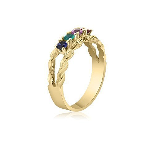 4 Birthstone Family Ring 10K Yellow Gold Intricate Ring