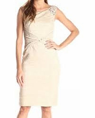 Jessica Howard Champagne Crinkled Petite Sheath Dress Pink 12P