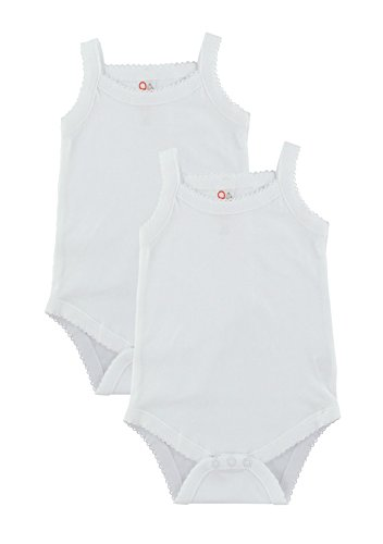 Baby and Toddler Girls White Camisole Onesie Bodysuit - W2GSNR - Size 3-6 - 2PK